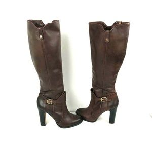 Vince Camuto 7.5B Cassia Brown Leather Knee Boots